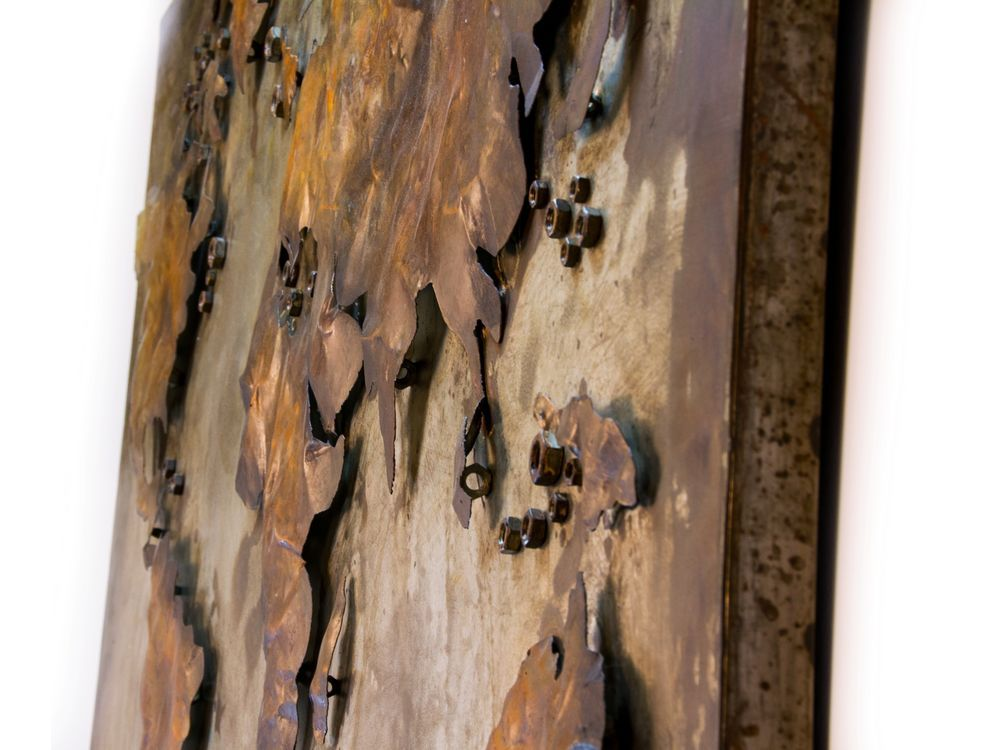 Abstract Metal World Map Rusty Metal World Wall Hanging